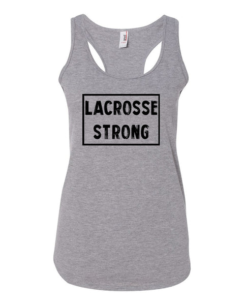 Heather Gray Lacrosse Strong Ladies Racerback Lacrosse Tank Top
