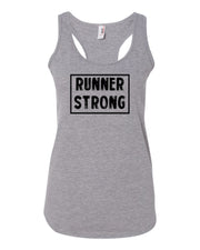 Heather Gray Runner Strong Ladies Racerback Runner Tank Top