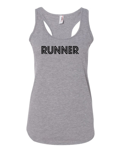 Heather Gray Runner Ladies Racerback Runner Tank Top