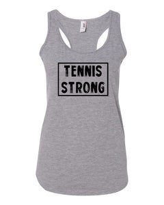 Heather Gray Tennis Strong Ladies Racerback Tennis Tank Top With Tennis Strong Design On Front