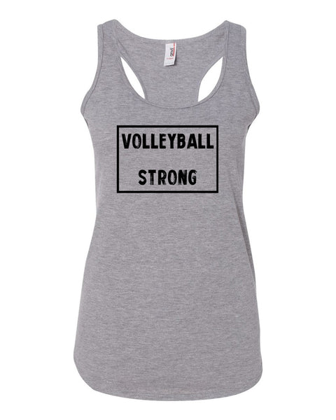Heather Gray Volleyball Strong Ladies Racerback Volleyball Tank Top
