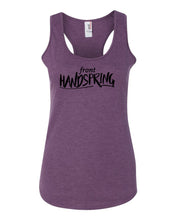 Heather Purple Front Handspring Ladies Racerback Gymnastics Tank Top