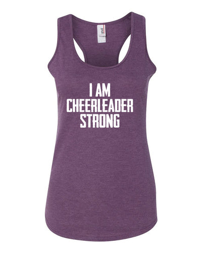 Heather Purple I Am Cheerleader Strong Ladies Racerback Cheer Tank Top