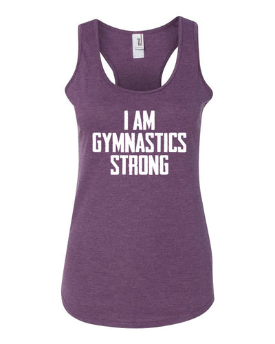 Heather Purple I Am Gymnastics Strong Ladies Racerback Gymnastics Tank Top