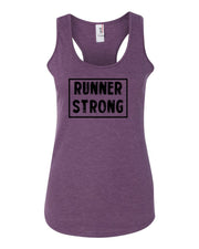Heather Purple Runner Strong Ladies Racerback Runner Tank Top