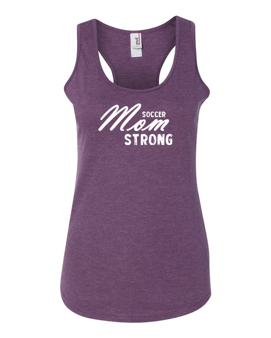 Heather Purple Soccer Mom Strong Ladies Racerback Soccer Tank Top