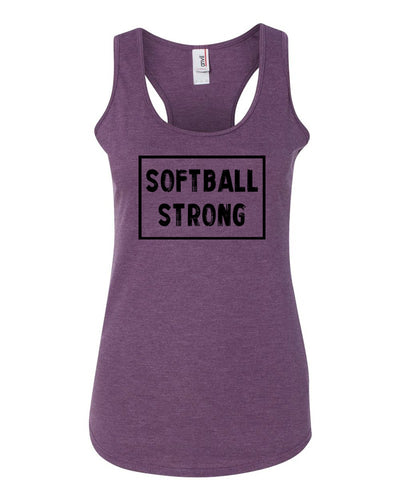 Heather Purple Softball Strong Ladies Racerback Softball Tank Top