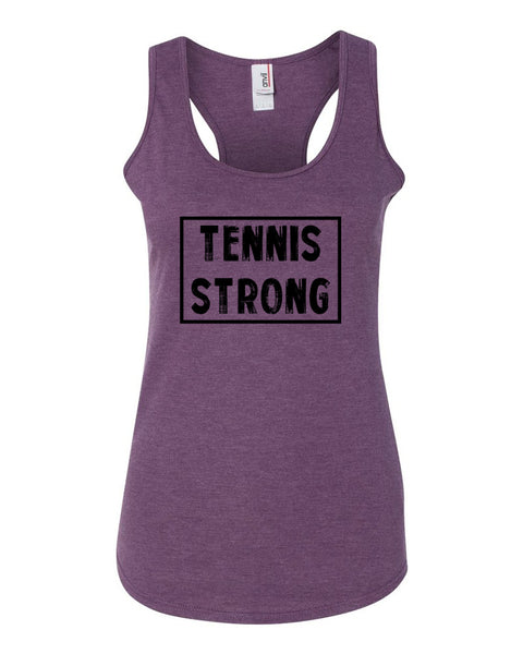 Heather Purple Tennis Strong Ladies Racerback Tennis Tank Top With Tennis Strong Design On Front