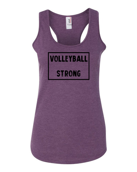 Heather Purple Volleyball Strong Ladies Racerback Volleyball Tank Top