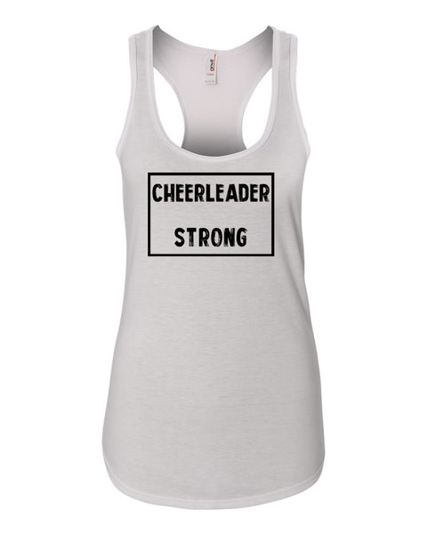 White Cheerleader Strong Ladies Racerback Cheer Tank Top