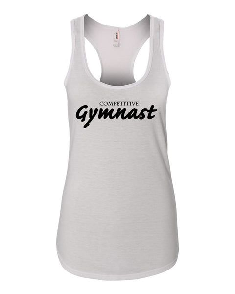 White Competitive Gymnast Ladies Racerback Gymnastics Tank Top
