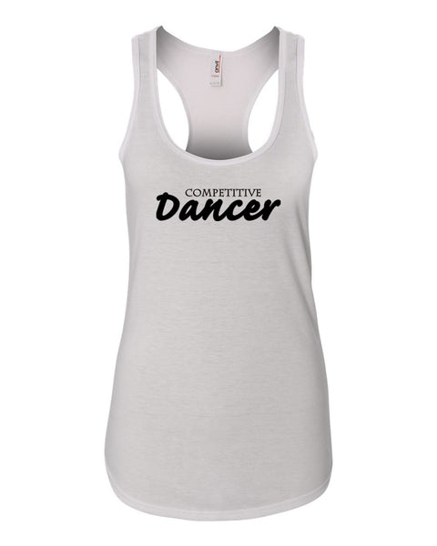 White Competitive Dancer Ladies Racerback Dance Tank Top