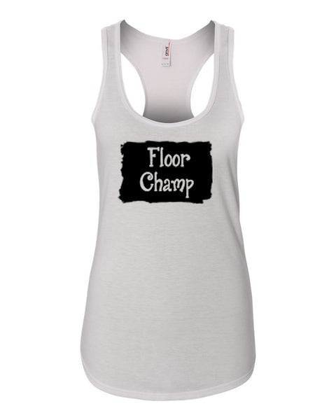 White Floor Champ Ladies Racerback Gymnastics Tank Top With Floor Champ Design On Front