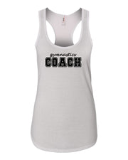 White Gymnastics Coach Ladies Racerback Gymnastics Tank Top
