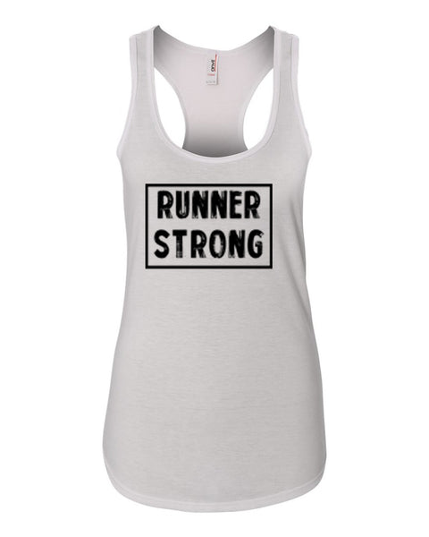 White Runner Strong Ladies Racerback Runner Tank Top
