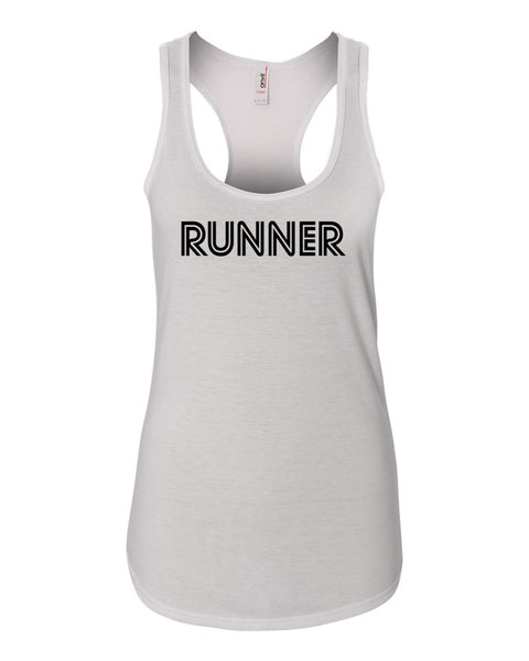 White Runner Ladies Racerback Runner Tank Top