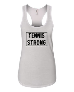 White Tennis Strong Ladies Racerback Tennis Tank Top With Tennis Strong Design On Front