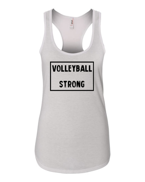 White Volleyball Strong Ladies Racerback Volleyball Tank Top