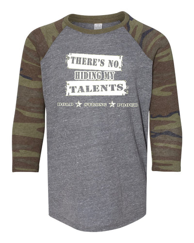 Shining Light There's No Hiding My Talents Youth Camo Raglan