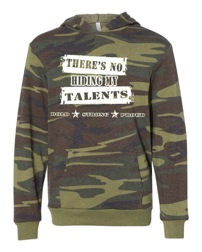 There's No Hiding My Talents Adult Camo Hoodie