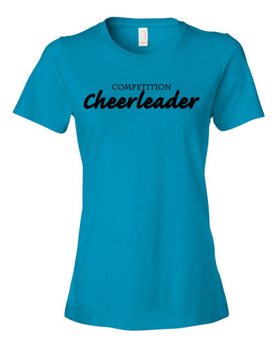 Caribbean Blue Competition Cheerleader Ladies Cheer T-Shirt