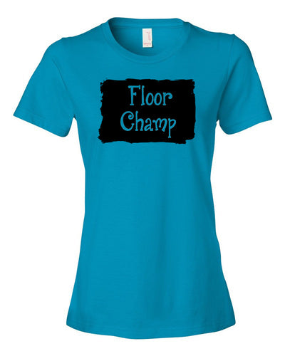Caribbean Blue Floor Champ Ladies Gymnastics T-Shirt With Floor Champ Design On Front