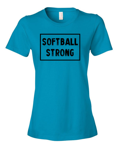 Caribbean Blue Softball Strong Ladies Softball T-Shirt With Softball Strong Design On Front