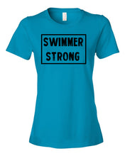 Caribbean Blue Swimmer Strong Ladies Swim T-Shirt