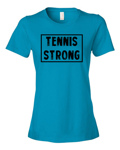 Caribbean Blue Tennis Strong Ladies Tennis T-Shirt With Tennis Strong Design On Front