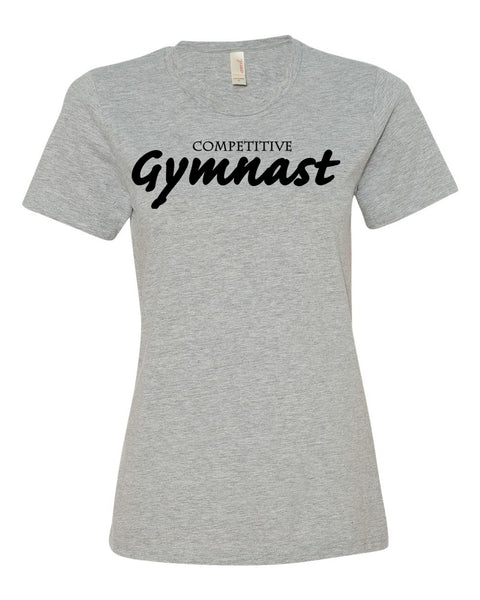 Heather Gray Competitive Gymnast Ladies Gymnastics T-Shirt