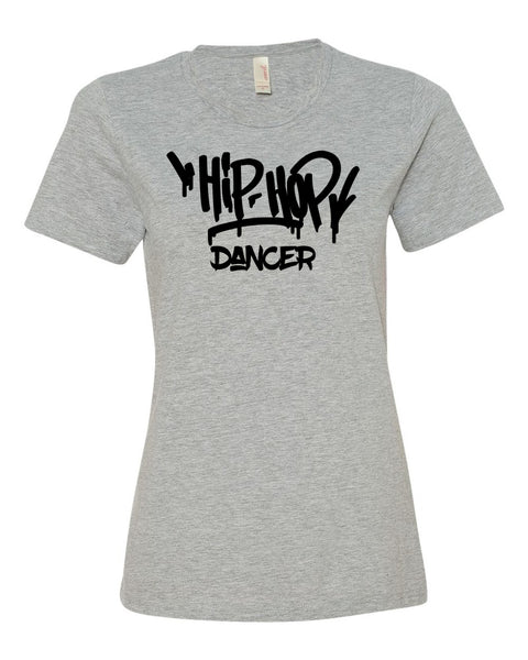 Heather Gray Hip Hop Dancer Ladies Dance T-Shirt With Hip Hop Dance Design On Front