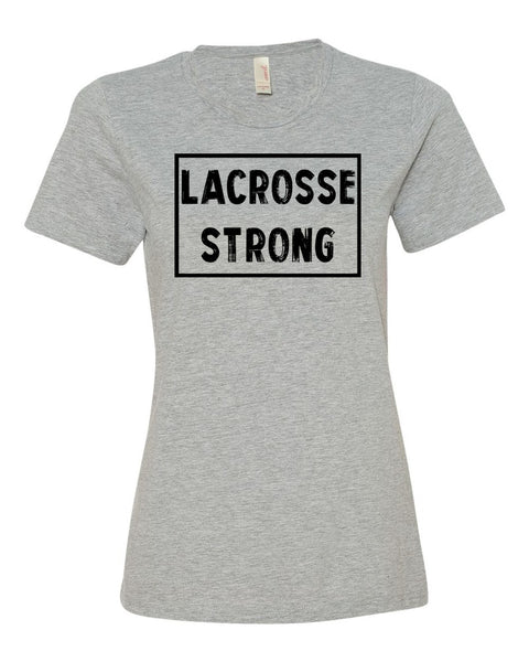 Heather Gray Lacrosse Strong Ladies Lacrosse T-Shirt With Lacrosse Strong Design On Front