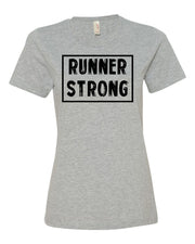 Heather Gray Runner Strong Ladies Runner T-Shirt