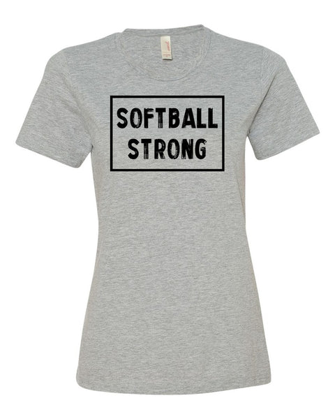 Heather Gray Softball Strong Ladies Softball T-Shirt With Softball Strong Design On Front