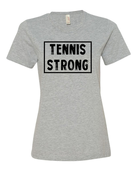 Heather Gray Tennis Strong Ladies Tennis T-Shirt With Tennis Strong Design On Front