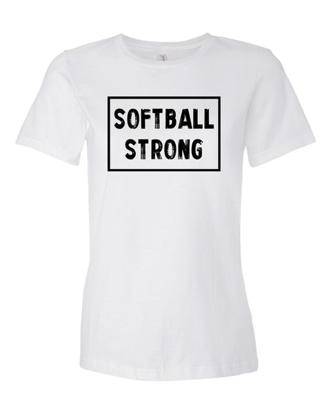 White Softball Strong Ladies Softball T-Shirt With Softball Strong Design On Front