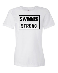 White Swimmer Strong Ladies Swim T-Shirt