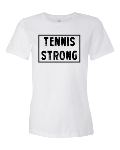 White Tennis Strong Ladies Tennis T-Shirt With Tennis Strong Design On Front