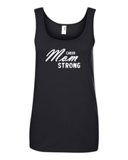 Black Cheer Mom Strong Ladies Cheer Tank Top With Cheer Mom Strong Design On Front