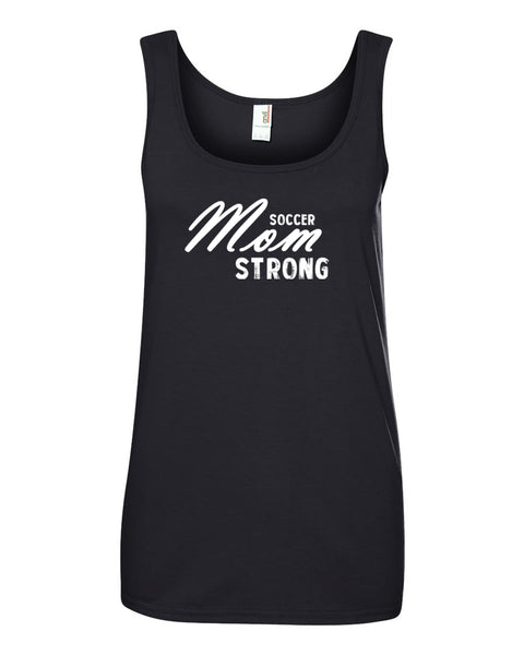 Black Soccer Mom Strong Ladies Soccer Tank Top