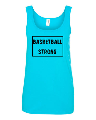 Caribbean Blue Basketball Strong Ladies Basketball Tank Top With Basketball Strong Design On Front