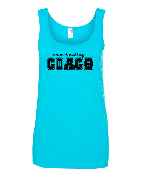 Caribbean Blue Cheerleading Coach Ladies Tank Top