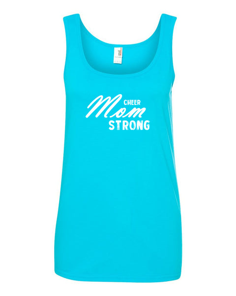 Caribbean Blue Cheer Mom Strong Ladies Cheer Tank Top With Cheer Mom Strong Design On Front