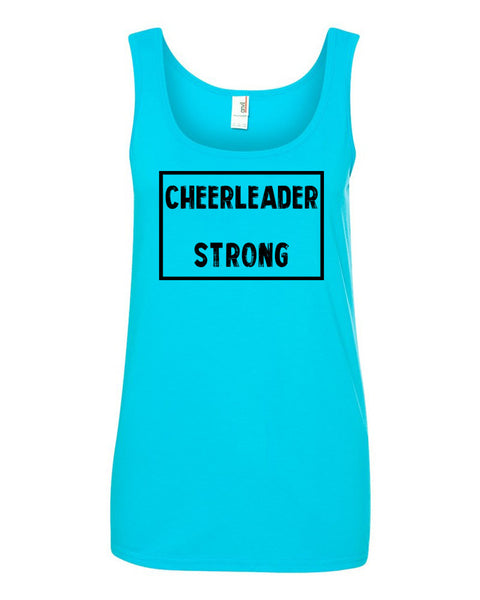 Caribbean Blue Cheerleader Strong Ladies Cheer Tank Top