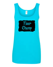 Caribbean Blue Champ Ladies Gymnastics Tank Top With Floor Champ Design On Front