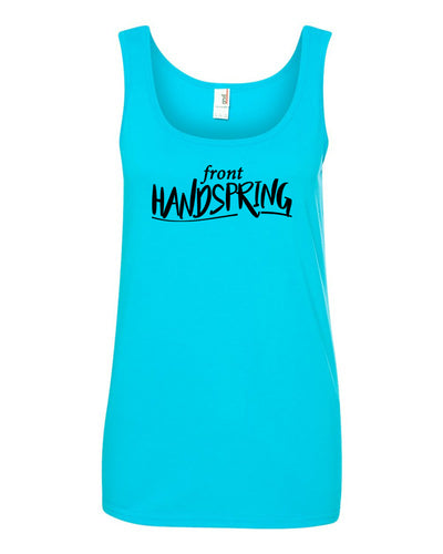 Caribbean Blue Front Handspring Ladies Gymnastics Tank Top