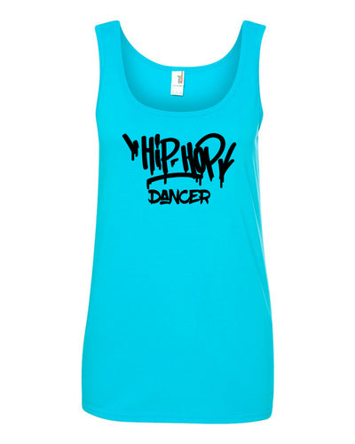 Caribbean Blue Hip Hop Dancer Ladies Dance Tank Top With Hip Hop Dancer Design On Front