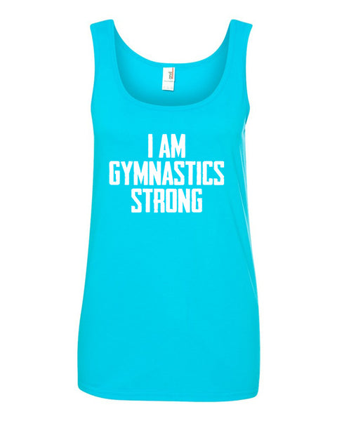 Caribbean Blue I Am Gymnastics Strong Ladies Gymnastics Tank Top