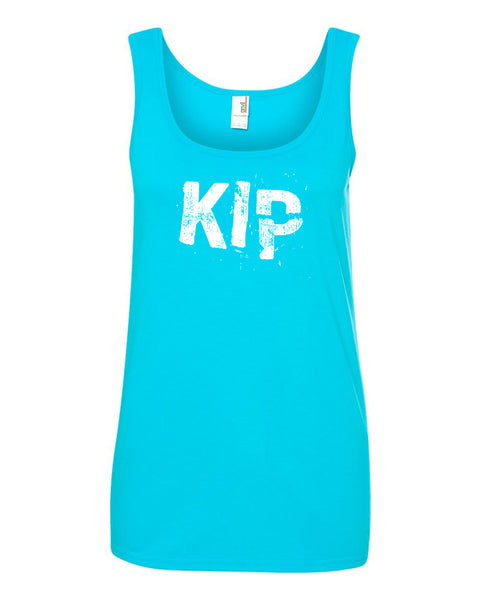 Caribbean Blue Kip Ladies Gymnastics Tank Top With Kip Design On Front