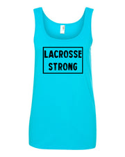 Caribbean Blue Lacrosse Strong Ladies Lacrosse Tank Top With Lacrosse Strong Design On Front